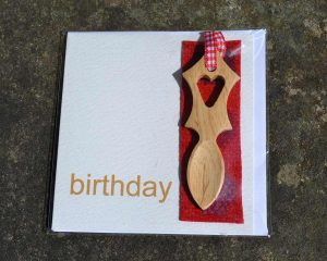 Welsh Love Spoon Birthday Card English